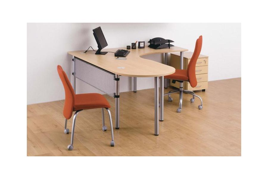 Opto Pole Leg - Beech Crescent Desk with Modesty and Mini Meeting Point