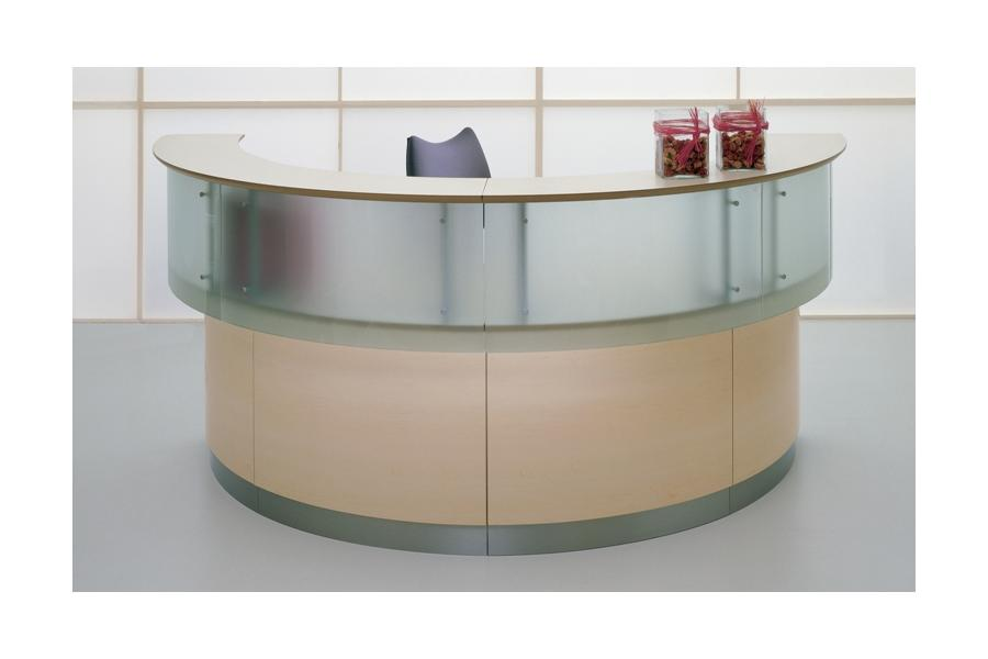 Salvo Reception Desk Range - Half Circle Glass Upper Units Birch