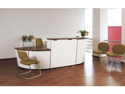 Tera Reception Desk Range - White/Walnut Tops